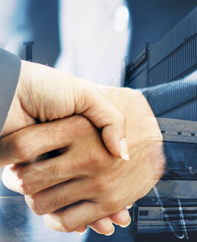 Poignée de main affaires travail entreprise accord négoce matériel location vente bungalow container