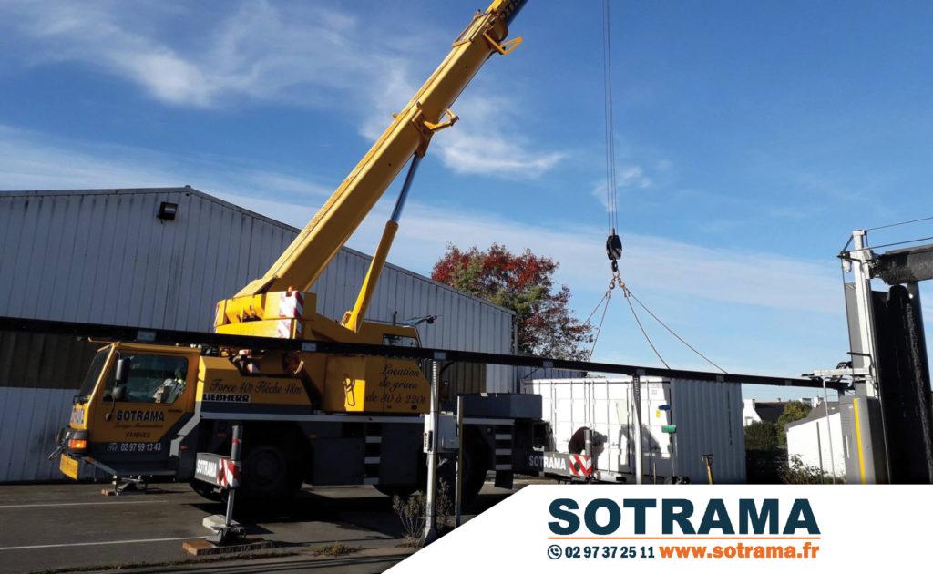 Grue jaune Sotrama levage manutention achat vente location matériel